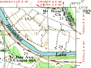 Reduced fragment of topographic map en--usgs--063k--057637--(1954)--N033-15_W090-30--N033-00_W090-15 in area of Bee Lake; towns and cities Belzoni, Silver City