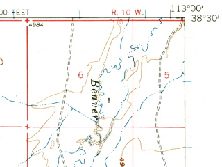 Reduced fragment of topographic map en--usgs--063k--057639--(1958)--N038-30_W113-15--N038-15_W113-00; towns and cities Milford