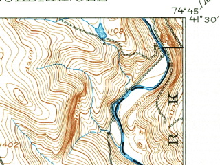 Reduced fragment of topographic map en--usgs--063k--057642--(1913)--N041-30_W075-00--N041-15_W074-45; towns and cities Milford