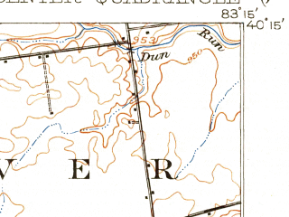 Reduced fragment of topographic map en--usgs--063k--057644--(1916)--N040-15_W083-30--N040-00_W083-15; towns and cities Marysville, Milford Center, Plain City, Unionville Center