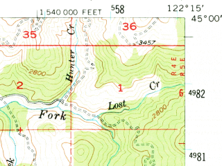 Reduced fragment of topographic map en--usgs--063k--057647--(1955)--N045-00_W122-30--N044-45_W122-15; towns and cities Gates, Mill City