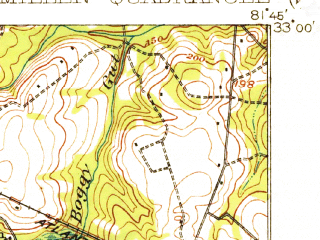 Reduced fragment of topographic map en--usgs--063k--057653--(1920)--N033-00_W082-00--N032-45_W081-45; towns and cities Sardis, Millen