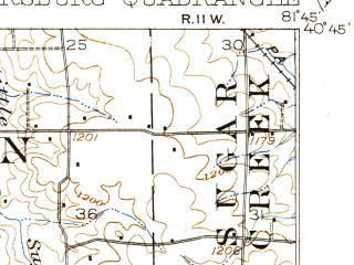 Reduced fragment of topographic map en--usgs--063k--057659--(1915)--N040-45_W082-00--N040-30_W081-45; towns and cities Apple Creek, Fredericksburg, Holmesville