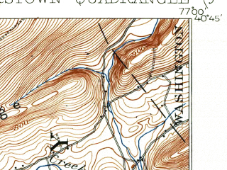 Reduced fragment of topographic map en--usgs--063k--057660--(1907)--N040-45_W077-15--N040-30_W077-00; towns and cities Millerstown, Thompsontown