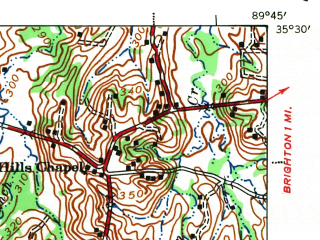 Reduced fragment of topographic map en--usgs--063k--057668--(1942)--N035-30_W090-00--N035-15_W089-45; towns and cities Millington, Atoka, Munford