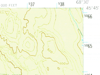 Reduced fragment of topographic map en--usgs--063k--057669--(1951)--N045-45_W068-45--N045-30_W068-30 in area of Dolby Pond, Nollesemic Lake; towns and cities Millinocket, East Millinocket