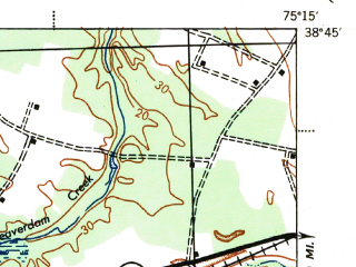 Reduced fragment of topographic map en--usgs--063k--057673--(1944)--N038-45_W075-30--N038-30_W075-15; towns and cities Georgetown, Millsboro