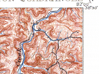 Reduced fragment of topographic map en--usgs--063k--057681--(1902)--N038-30_W082-15--N038-15_W082-00; towns and cities Culloden, Hamlin, Hurricane