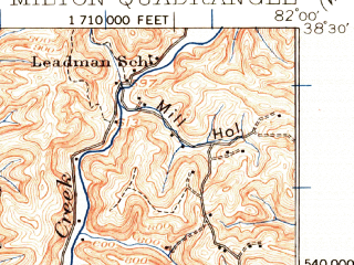Reduced fragment of topographic map en--usgs--063k--057681--(1931)--N038-30_W082-15--N038-15_W082-00; towns and cities Culloden, Hamlin, Hurricane