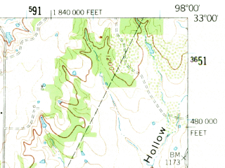 Reduced fragment of topographic map en--usgs--063k--057697--(1959)--N033-00_W098-15--N032-45_W098-00; towns and cities Mineral Wells, Cool, Graford, Millsap
