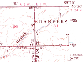Reduced fragment of topographic map en--usgs--063k--057701--(1951)--N040-30_W089-30--N040-15_W089-15; towns and cities Armington, Emden, Hartsburg