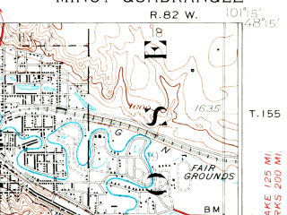 Reduced fragment of topographic map en--usgs--063k--057708--(1928)--N048-15_W101-30--N048-00_W101-15; towns and cities Minot