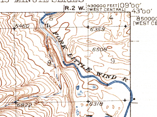 Reduced fragment of topographic map en--usgs--063k--057748--(1943)--N043-00_W109-15--N042-45_W109-00