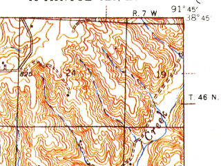 Reduced fragment of topographic map en--usgs--063k--057767--(1945)--N038-45_W092-00--N038-30_W091-45; towns and cities Chamois, Mokane