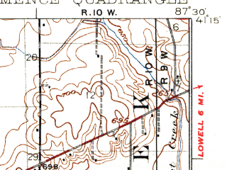 Reduced fragment of topographic map en--usgs--063k--057771--(1924)--N041-15_W087-45--N041-00_W087-30; towns and cities Grant Park, Hopkins Park, Momence
