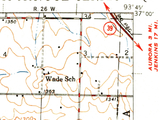 Reduced fragment of topographic map en--usgs--063k--057780--(1943)--N037-00_W094-00--N036-45_W093-45; towns and cities Monett, Purdy, Verona