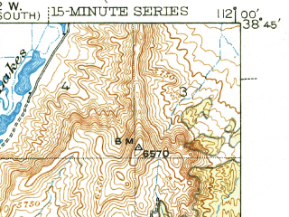 Reduced fragment of topographic map en--usgs--063k--057788--(1944)--N038-45_W112-15--N038-30_W112-00; towns and cities Annabella, Elsinore, Joseph