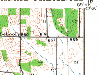 Reduced fragment of topographic map en--usgs--063k--057790--(1920)--N042-45_W089-45--N042-30_W089-30; towns and cities Monroe, Monticello