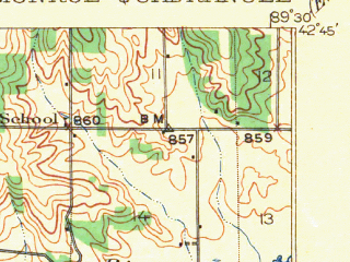 Reduced fragment of topographic map en--usgs--063k--057790--(1922)--N042-45_W089-45--N042-30_W089-30; towns and cities Monroe, Monticello