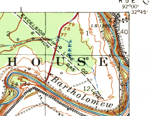 Reduced fragment of topographic map en--usgs--063k--057792--(1935)--N032-45_W092-15--N032-30_W092-00 in area of Black Bayou Lake; towns and cities Monroe, West Monroe, Claiborne, Sterlington