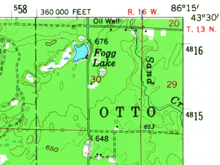 Reduced fragment of topographic map en--usgs--063k--057797--(1959)--N043-30_W086-30--N043-15_W086-15 in area of White Lake; towns and cities Lakewood Club, Montague, North Muskegon