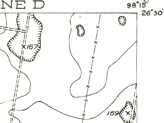 Reduced fragment of topographic map en--usgs--063k--057798--(1940)--N026-30_W098-30--N026-15_W098-15; towns and cities Palmhurst, Alton, La Homa