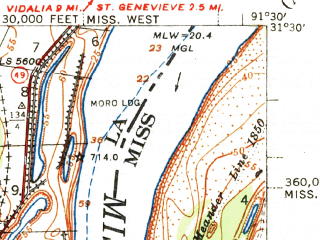 Reduced fragment of topographic map en--usgs--063k--057801--(1939)--N031-30_W091-45--N031-15_W091-30