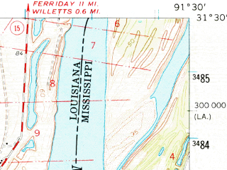 Reduced fragment of topographic map en--usgs--063k--057801--(1961)--N031-30_W091-45--N031-15_W091-30