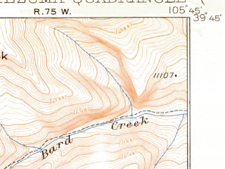 Reduced fragment of topographic map en--usgs--063k--057807--(1924)--N039-45_W106-00--N039-30_W105-45; towns and cities Montezuma