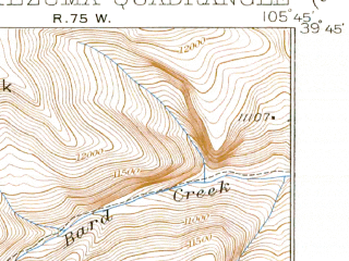 Reduced fragment of topographic map en--usgs--063k--057807--(1926)--N039-45_W106-00--N039-30_W105-45; towns and cities Montezuma