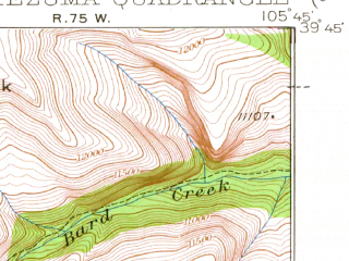 Reduced fragment of topographic map en--usgs--063k--057807--(1933)--N039-45_W106-00--N039-30_W105-45; towns and cities Montezuma