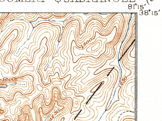 Reduced fragment of topographic map en--usgs--063k--057813--(1910)--N038-15_W081-30--N038-00_W081-15; towns and cities Montgomery, Powellton, Pratt