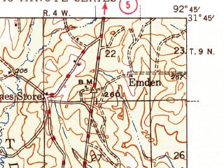 Reduced fragment of topographic map en--usgs--063k--057814--(1945)--N031-45_W093-00--N031-30_W092-45; towns and cities Montgomery