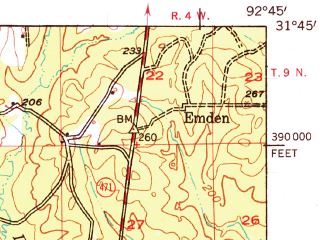 Reduced fragment of topographic map en--usgs--063k--057814--(1957)--N031-45_W093-00--N031-30_W092-45; towns and cities Montgomery