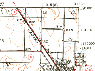 Reduced fragment of topographic map en--usgs--063k--057816--(1940)--N039-00_W091-45--N038-45_W091-30; towns and cities Montgomery City