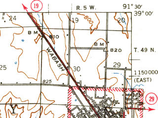 Reduced fragment of topographic map en--usgs--063k--057816--(1942)--N039-00_W091-45--N038-45_W091-30; towns and cities Montgomery City