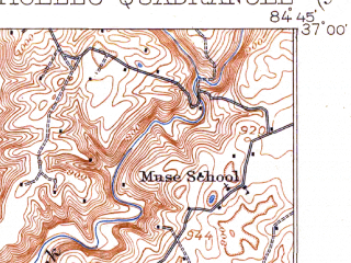 Reduced fragment of topographic map en--usgs--063k--057823--(1914)--N037-00_W085-00--N036-45_W084-45; towns and cities Monticello