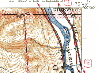 Reduced fragment of topographic map en--usgs--063k--057829--(1945)--N042-00_W076-00--N041-45_W075-45; towns and cities Montrose
