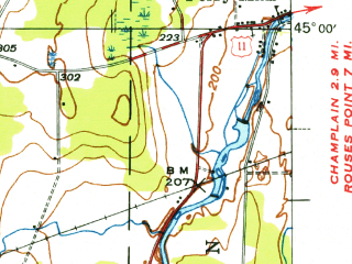 Reduced fragment of topographic map en--usgs--063k--057843--(1942)--N045-00_W073-45--N044-45_W073-30; towns and cities Altona, Mooers