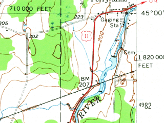 Reduced fragment of topographic map en--usgs--063k--057843--(1956)--N045-00_W073-45--N044-45_W073-30; towns and cities Altona, Mooers
