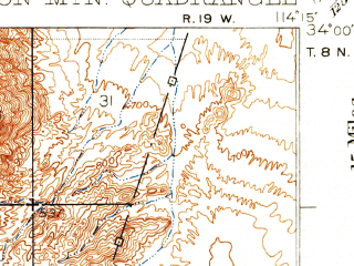 Reduced fragment of topographic map en--usgs--063k--057845--(1932)--N034-00_W114-30--N033-45_W114-15; towns and cities Poston