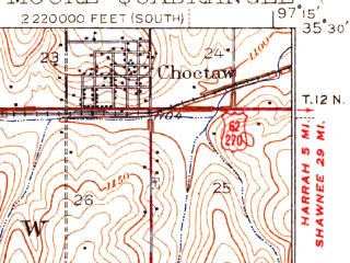 Reduced fragment of topographic map en--usgs--063k--057848--(1938)--N035-30_W097-30--N035-15_W097-15 in area of Stanley Draper Lake; towns and cities Midwest City, Del City, Moore, Choctaw, Nicoma Park