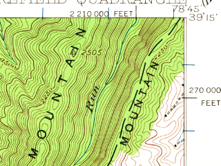 Reduced fragment of topographic map en--usgs--063k--057850--(1920)--N039-15_W079-00--N039-00_W078-45; towns and cities Moorefield