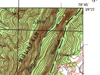 Reduced fragment of topographic map en--usgs--063k--057850--(1945)--N039-15_W079-00--N039-00_W078-45; towns and cities Moorefield