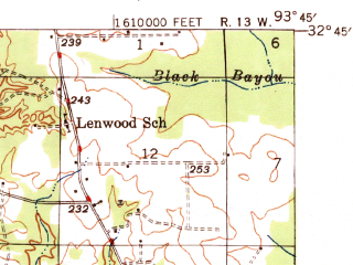 Reduced fragment of topographic map en--usgs--063k--057858--(1948)--N032-45_W094-00--N032-30_W093-45; towns and cities Blanchard, Mooringsport, Oil City