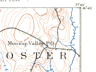 Reduced fragment of topographic map en--usgs--063k--057866--(1889)--N041-45_W072-00--N041-30_W071-45 in area of Pachaug Pond; towns and cities Jewett City, Moosup, Plainfield Village
