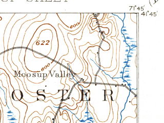 Reduced fragment of topographic map en--usgs--063k--057866--(1893)--N041-45_W072-00--N041-30_W071-45 in area of Pachaug Pond; towns and cities Jewett City, Moosup, Plainfield Village
