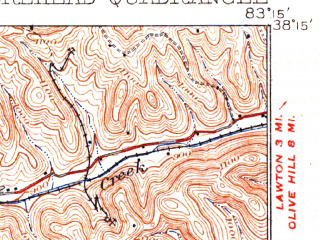 Reduced fragment of topographic map en--usgs--063k--057874--(1935)--N038-15_W083-30--N038-00_W083-15; towns and cities Morehead