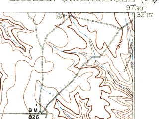 Reduced fragment of topographic map en--usgs--063k--057877--(1931)--N032-15_W097-45--N032-00_W097-30; towns and cities Morgan