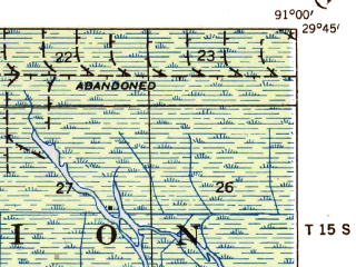 Reduced fragment of topographic map en--usgs--063k--057880--(1935)--N029-45_W091-15--N029-30_W091-00; towns and cities Morgan City, Amelia, Berwick